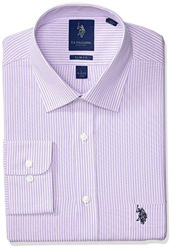 (U.S. Polo Assn. Men's Slim Fit Striped Semi Spread Collar Dress Shirt, Bengal Light Purple/White, 17