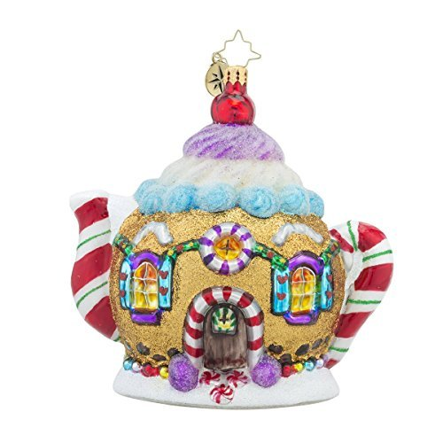 Christopher Radko Sweet Tea Teapot Candy & Gingerbread Themed Glass Christmas Ornament - 5h. by Christopher Radko