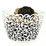 Evalley Artistic Bake Cake Box Cake paper cups Filigree Little Vine Lace Laser Cut Cupcake Wrapper Liner Baking Cup Muffin Case Trays Wedding Birthday Party Decoration (100)