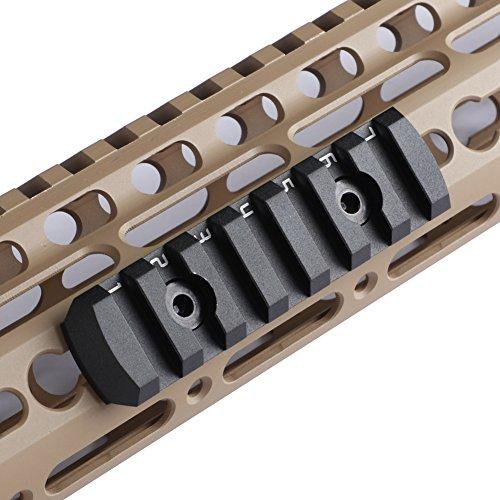TuFok Keymod Picatinny Rail Section - Super Thin Keymod Rail Attachment Rail Adapter Mount,Height ONLY 0.27 inch/6.88 mm(Aluminum,7-Slot Black)