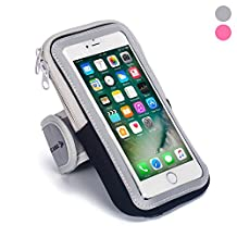 SPORTS ARMBAND - BEST RUNNING CELL PHONE CASE holder Arm Band Strap With Zipper Pouch/ Mobile Exercise Workout For Apple iPhone 6 6S Gold Plus iPod Touch Android Samsung Galaxy S5 S6 S7 Note 4 5 LG HTC (Regular Size, Grey)