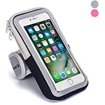 Sports Armband: Cell Phone Holder Case Arm Band Strap With Zipper Pouch/Mobile Exercise Running Workout For Apple iPhone 6 7 8 iPod Touch Android Samsung Galaxy S5 S6 S7 S8 Edge LG HTC Pixel (black)