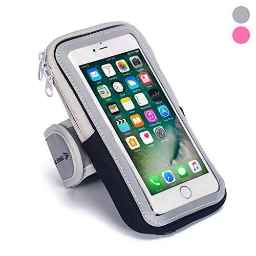 Phone Holder Case Arm Band Strap With Zipper Pouch/ Mobile Exercise Running Workout For Apple iPhone 6 7 8 iPod Touch Android Samsung Galaxy S5 S6 S7 S8 Edge LG HTC Pixel (black) (Ipod Waist Belt)