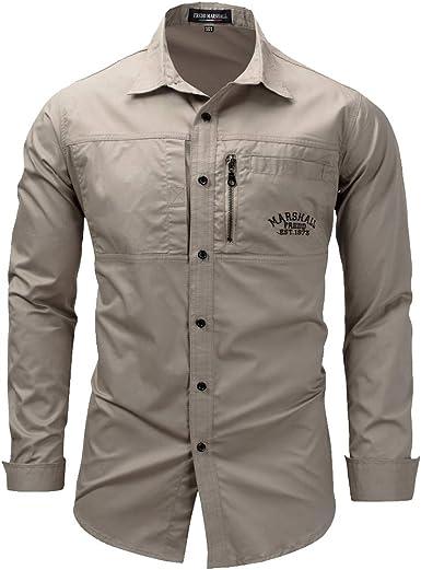 ROBO Camisa de Trabajo Hombre de Manga Larga Grande Casual Slim Fit Camiseta Bolsillo Color Sólido para Juegos al Aire Libre: Amazon.es: Ropa y accesorios