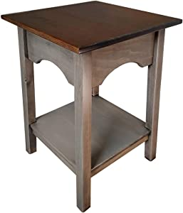 2-Tier Side Table | Fully Assembled Square Wooden End Tables with Storage Shelf Amish Furniture for Living Room Home Decor (Pewter)
