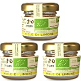 """Organic Raw Honey, """"Lemon Blossom"""", Unprocessed, Unheated, Imported from Sicily, Pack of 3 x 30g"""