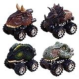 Oun Nana Dinosaur Car Kids Creative Gift Big Tire Wheel,Mini Pullback Dinosaur Lovely Animal Model Cars (Pack of 4)