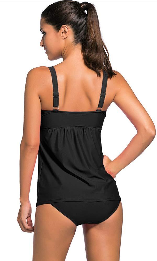 Agreya Women Two Pieces Swimwear Tankini Top with Triangle Bikini Simsuits (Black, M)