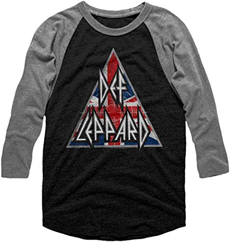 American Classics Def Leppard 80s Heavy Metal Band Rock n Roll Brit Flag Logo Adult Raglan T-Shirt Tee