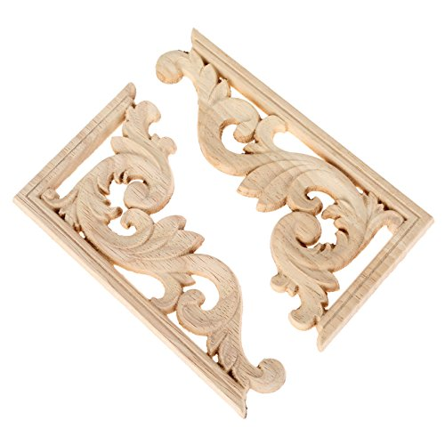 4pcs 13x7cm(right) Vintage Wooden Carved Corner Onlay Furniture Wall Decor Unpainted Frame Applique