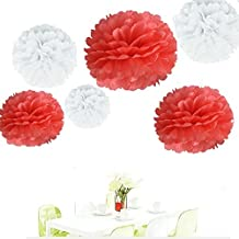 Since ® 12Pcs of 8 10 14 3 Colors Mixed White and Coral Tissue Paper Flowers,Tissue Paper Pom Poms,Wedding Party Decor,Pom Pom Flowers,Tissue Paper Flowers Kit,Pom Poms Craft,Wedding Pom Poms by Since