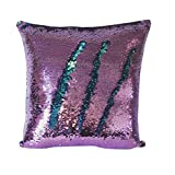 #6: Livedeal Reversible Sequins Mermaid Pillow Cases 4040cm Purple and Blue