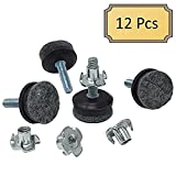 Medium Duty Felt Furniture Levelers - 1/4'' Threaded Shank w/T-Nuts - Brown Plastic w/Grey High Density Felt - 400 Lb. Total Capacity - Adjusts from 0'' to 3/4'' - Set of 12