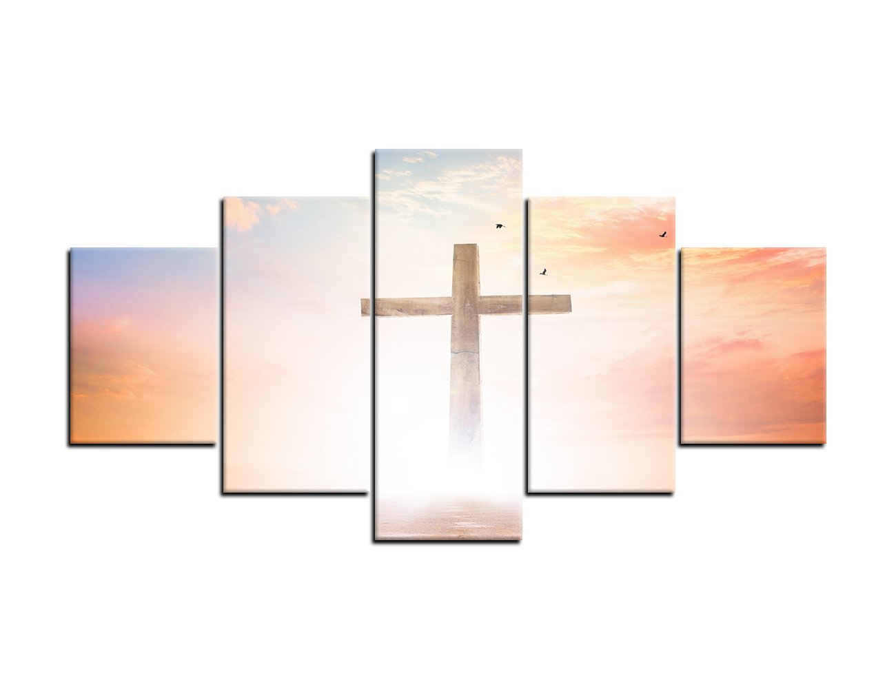 Amemny 5 Panel Jesus Vintage Wooden Cross Wall Art Canvas Painting Print Poster Yellow Rays Background Painting Christian Wall Decoration For Living