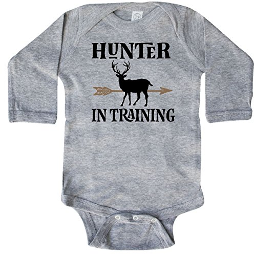 Infant Sports Hunter Bodysuit (inktastic - Hunter in Training Long Sleeve Creeper 6 Months Heather Grey 2de6a)