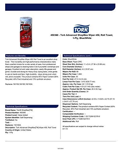Tork Advanced 450360 ShopMax Wiper 450, Roll Towel, 1-Ply, 11'' Width x 9.4'' Length, Blue/White (Case of 30 Rolls, 60 per Roll, 1800 Towels) by Tork (Image #3)