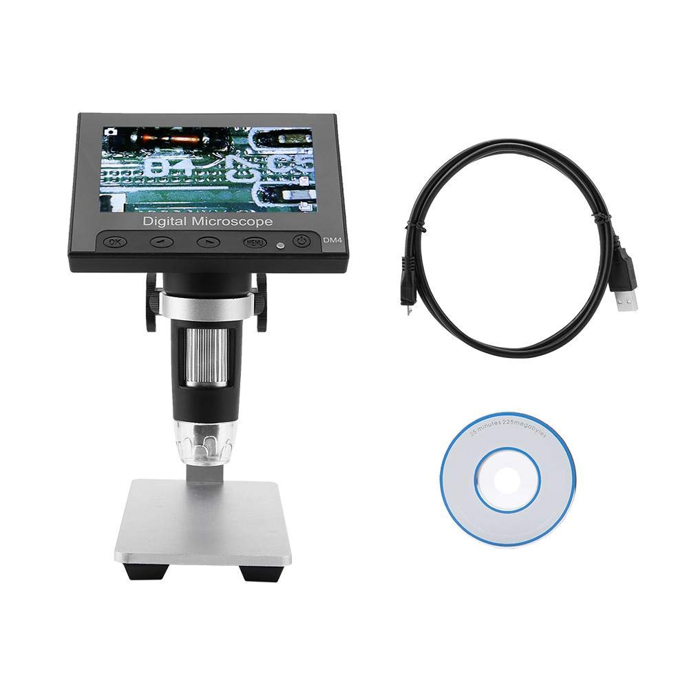 Akozon USB Microscope 4.3inch 2MP Display Photos & Videos 8LEDs with Holder(Aluminum Alloy Holder) by Akozon