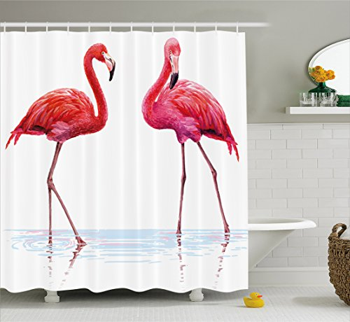 Animal Shower Curtain by Ambesonne, Two Hand Drawn Flamingos in Pink Colors on Seaside Tropical Wildlife Artwork, Fabric Bathroom Decor Set with Hooks, 75 Inches Long, Orange - Color Flamingos Pink