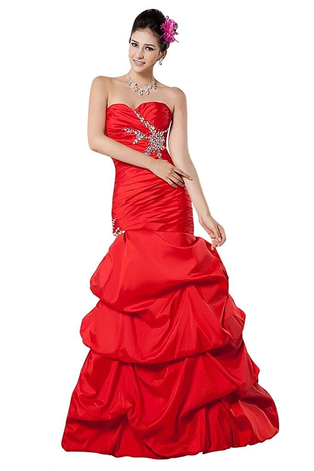 GEORGE BRIDE Fashion Strapless Ruched Red Evening Dress