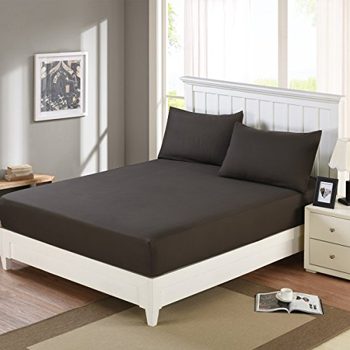 Fitted Sheet Twin - 100% Brushed Microfiber, Wrinkle, Fade and Stain Resistant, Soft and Breathable Sheet with Deep Pocket (Twin, Brown)