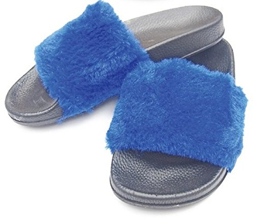 DINY Home & Style Ladies Womens Faux Rabbit Fur Slide Sandals Blue ynnOR