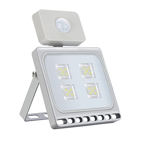 20W Blanco Frío Foco LED Sensor Movimiento Reflector Impermeable SMD IP67 Lámpara PIR Seguridad Lámpara LED