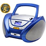 CD-Player | Tragbares Stereo Radio | Kinder Radio | Stereo Radio | Stereoanlage | USB | CD / MP3 Player | Radio | Kopfhöreranschluss | AUX IN | LCD-Display | Batterie sowie Strombetrieb | CP446 (Blau)