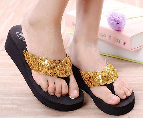 Bettyhome Kvinnor Sexiga Mode Paljetter Bekväma Badskor Tillfälliga Kilar Sandaler Strand Flip Flops Tofflor Guld