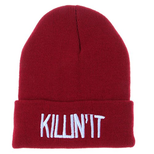 Women Letter Hat Wool Knitted Wine Red - 7