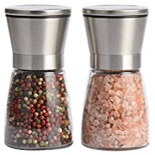 Leesentec Salt and Pepper Grinder Set (Pack Of 2) Stainless Steel Pepper Mill and Salt Mill Spice Grinder with Adjustable Coarseness Ceramic Grinder Pepper Shaker Suitable for Peppercorns, Sea Salt, Spices, Cumin and Other Seasoning (Silver)