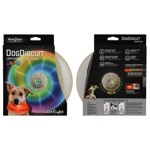 Nite-ize Flashflight Dog Discuit Disc - Disco, Multicolor Flying Toy by Nite-ize