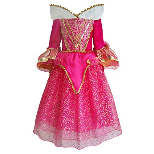[JiaDuo Baby Girls' Princess Dress Party Costumes Stand-up Collar 5-6 Red] (Toddler And Girls Aurora Princess Costumes)