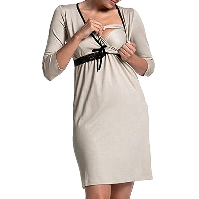 Pijama De Maternidad Vestido De Maternidad Bowknot Camisón V Vintage En Cuello Vestido De Enfermería Moda