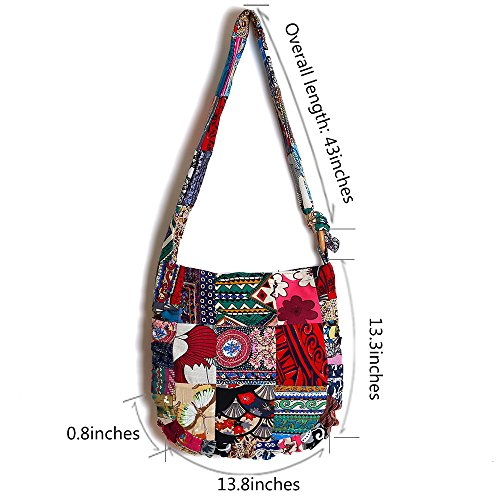 for Bag Ethnic Cotton Women Style Adjustable Handbag Travel Shoulder Casual Crossbody qqPTpvtZ