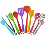Toyofmine Premium Silicone Kitchen Cooking Utensils Set (10 Piece) in Hygienic Solid Coating - Heat Resistant Baking Tools (Multicolor)