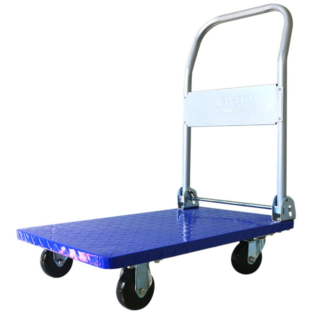 Jian E Folding Trolleys Blue Cart PVC 4 Wheels Trolley Handling Utility Vehicle Hand Truck Steel Plate Flatbed Truck Load 150KG