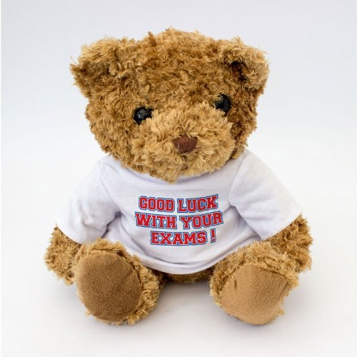 NEW - Good Luck With Your Exams Message Teddy Bear - Good Luck Gift For Exams (Teddy Good Bear Luck)