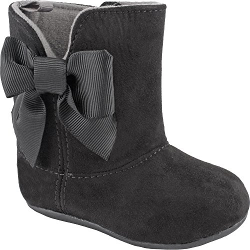 Wee Kids Girls Suede Boots with Bow (Infant Toddler Pre-walkers / Walking Shoes) Black Size 4 (Fashion Boots)