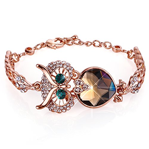 (Menton Ezil Lucky Owl Bracelets With Turquoise Jewelry Charms Antique Golden Rhinestone Crystal for Womens Girls)