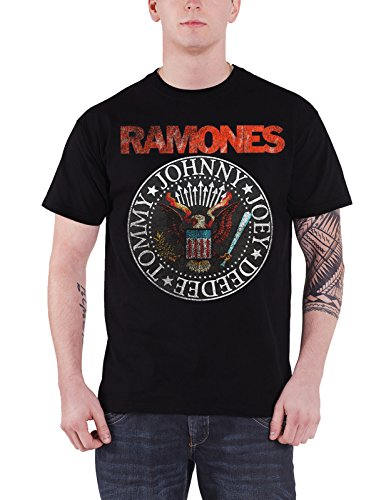 (Ramones T Shirt Vintage Eagle Seal Distressed Band Logo Official Mens Black Size XL)