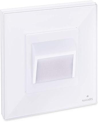 Navaris Luz LED para escalera o pasillo - Foco empotrable para pared de escaleras pasillos caminos - Diseño moderno con panel de cristal - En blanco: Amazon.es: Iluminación