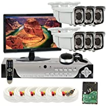 GW Security Inc 6CHE1 8 Channel H.264 960H and D1 Real-Time DVR with 6 x Effio-E CCD 700 TVL Varifocal Lens 66 IR LEDs Security Camera System, Free LED (White/Silver)