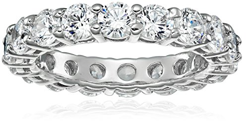 (Platinum-Plated Sterling Silver All-Around Band Ring set with Round Swarovski Zirconia (3 cttw), Size 5 )