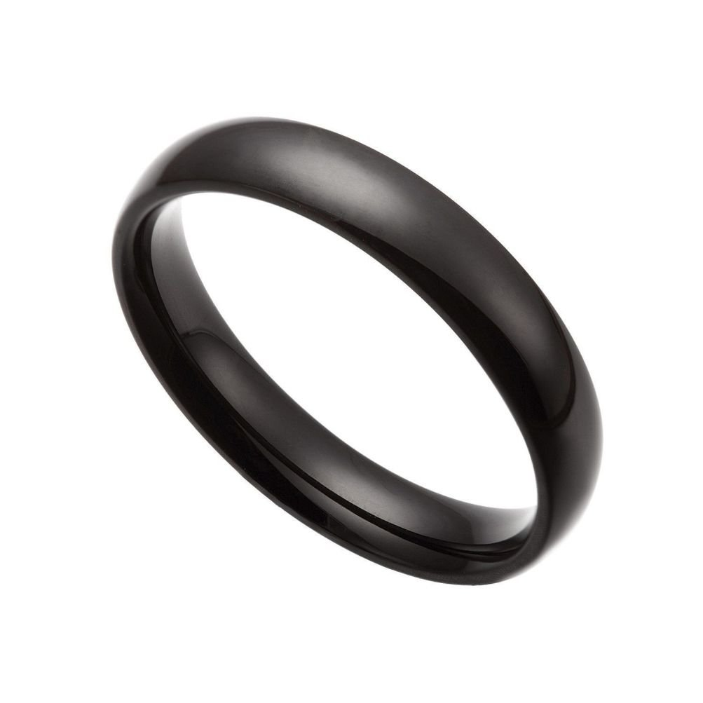SANDRA Mens Jewelry 2 mm Black Stainless Steel Wedding Band Ring Size 2-11 Include Half Size