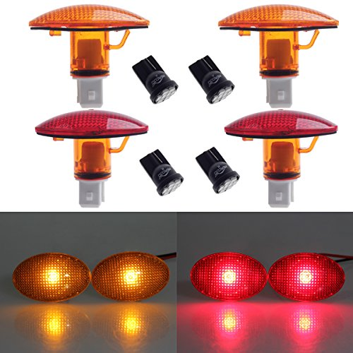HERCOO Dually Bed Fender Side Marker Lights w/LED Bulbs Aftermarket Replacement for 1999-2010 Ford F350 F450 F550 (Full Kit)