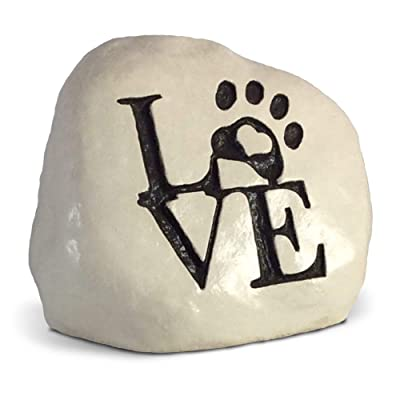 Love and a Paw Print. Engraved in a Heavy Little Rock - Packed in a Sturdy Gift Box : Garden & Outdoor
