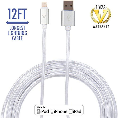 vCharged 12 FT Longest Lightning Cable Nylon Braided USB Charging Cable Cord for iPhone & iPad by vCharged