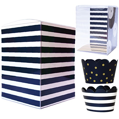 Nautical Baby Shower Single Cupcake Boxes 12, Decorative Inserts, Navy Blue and White Stripe Reverses to Gold Confetti, Sailor Party Cup Cake Kit for 1st Birthday Boy, Graduation, Wedding Favor Set
