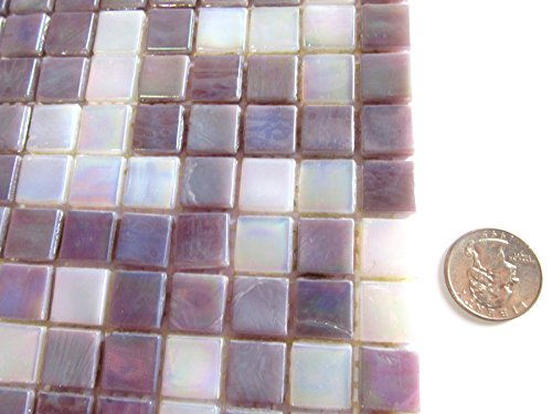 50 Lavender / White Mix Square Mosaic Tiles, 15 mm Glass Mosaic Pieces, Arts & Craft Supplies