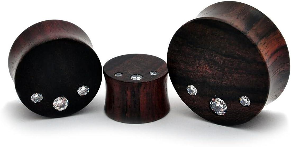 Pair of Sono Wood Plugs with Triple CZ gem stones (PW-268)